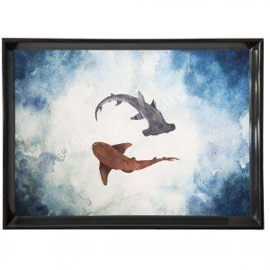 Hammerhead and Nurse Shark Art Watercolour Painting Print